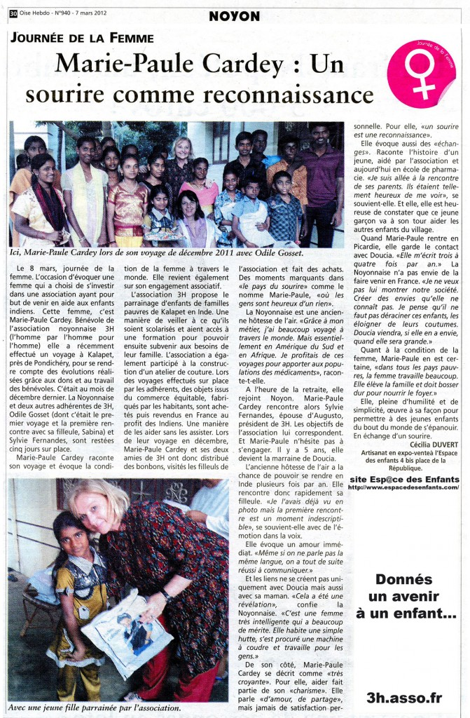 Oise Hebdo N°940 (page 30) 07 03 2012(mail)
